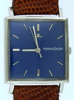 SERVICED c.1960 JLC Jaeger-LeCoultre Handwinding Watch Square Case Blue dial VGC