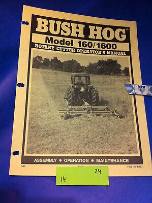 Bush Hog Model 160 1600 Rotary Cutter Operation Assembly Catalog Manual Book