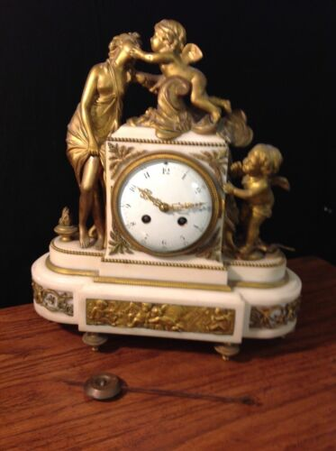 Antique 19th Century Allegorical Clock French Bronze & White Marble