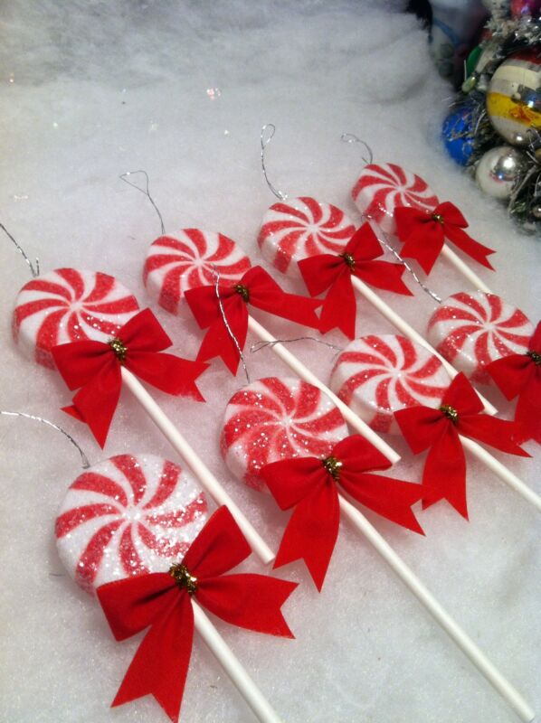 Red,  White  Peppermint  Lollipop Christmas tree Ornaments,  8 piece