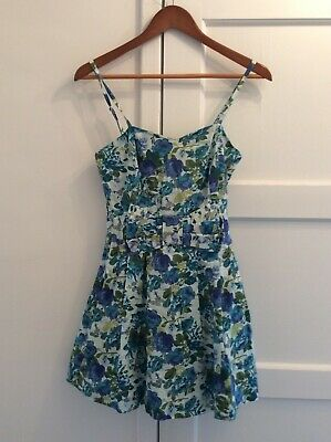 Miss Selfridge Blue Floral Fit and Flare Dress with bow front UK Size10 Holidays Bow-front Floral Dress