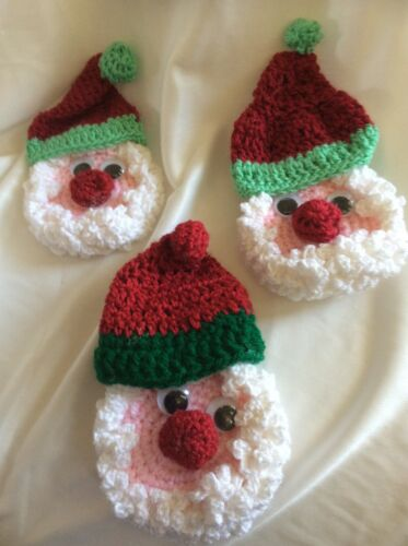 3 Vtg Hand Crocheted Knitted Santa Claus Face Hat Christmas Handmade Decorations