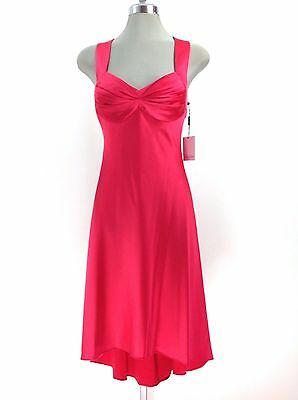 Calvin Klein New WT Gorgeous WATERMELON Cross Back Asymmetric hem Formal Dress  - New Gorgeous Formal Dress