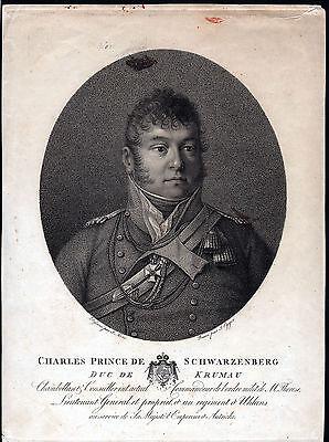 SCHWARZENBERG Karl Philipp Feldmarschall schönes grosses Portrait 1815 Original