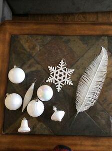 Assortment of plastic ornaments- white