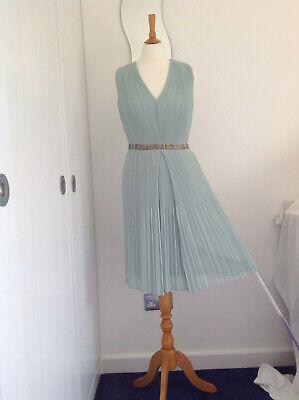 Hoss Intropia Dress Jade Green Tiny Pleats /38