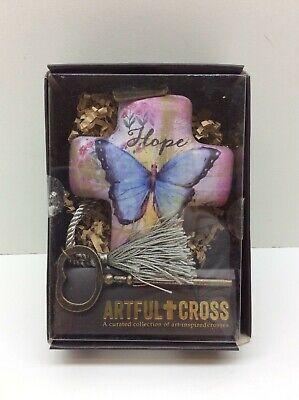 Demdaco Hope Butterfly Artful Cross w/ Key NIB Christian Gift