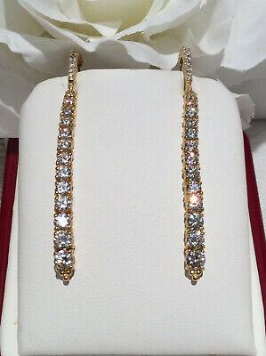 Judith Ripka 14k Gold Clad 925 Silver Linear Graduated CZ Earrings 2 1/4