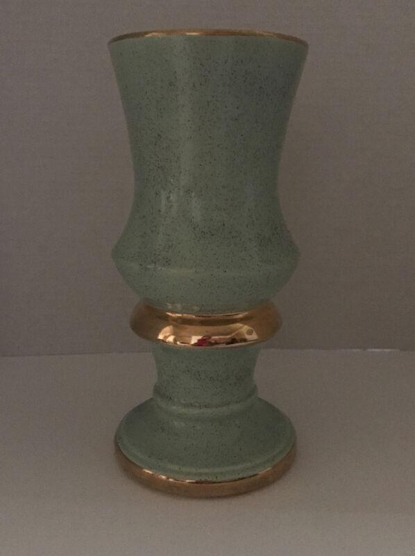 """Vintage Shafer Vase Blue with 23K Gold Trim 9"""" Tall Incredible Shape/Design #719"""