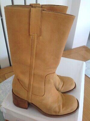 Office 'Jessie' Tan Nu Buck Leather Block Heel Mid Calf Cowboy Boots UK5 EU 38
