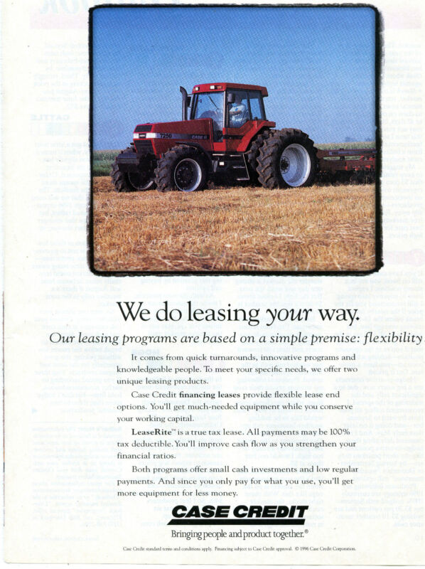 1996 Case International Harvester IH 7250 Farm Tractor Lease Print Ad
