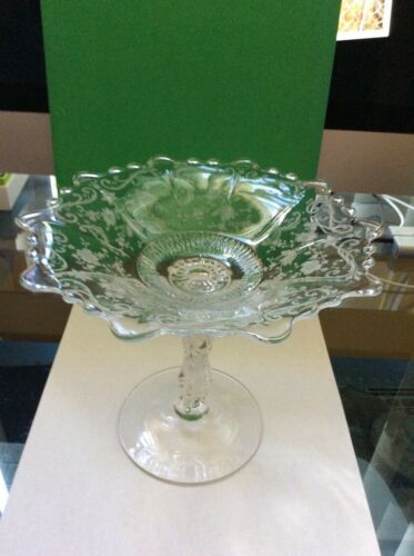"Cambridge Chantilly Etched  Glass Compote  - Tall Pedestal 6 1/4"" - Elegant"