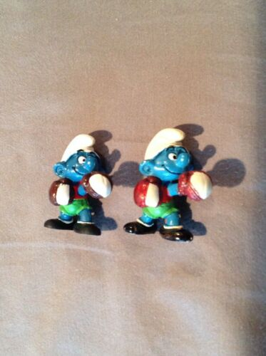 Vintage Lot of 2 Boxing Smurfs red gloves RARE 1980 Peyo Figure htf Schleich