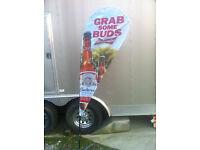 "NEW 30/' Budweiser /""Grab Some Bud/"" Decorative Roll Banner Bud Light Beer Decor"