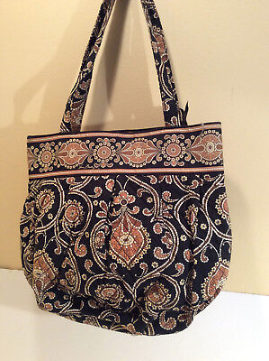 Vera BraDLEY CAFFE LATTE LARGE TOTE PURSE PAISLEY QUILTED ZIP TOP