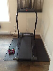 Electric treadmill and mats.
