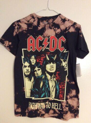 AC/DC Highway To Hell Black Tie Dye T-shirt Mens NWT
