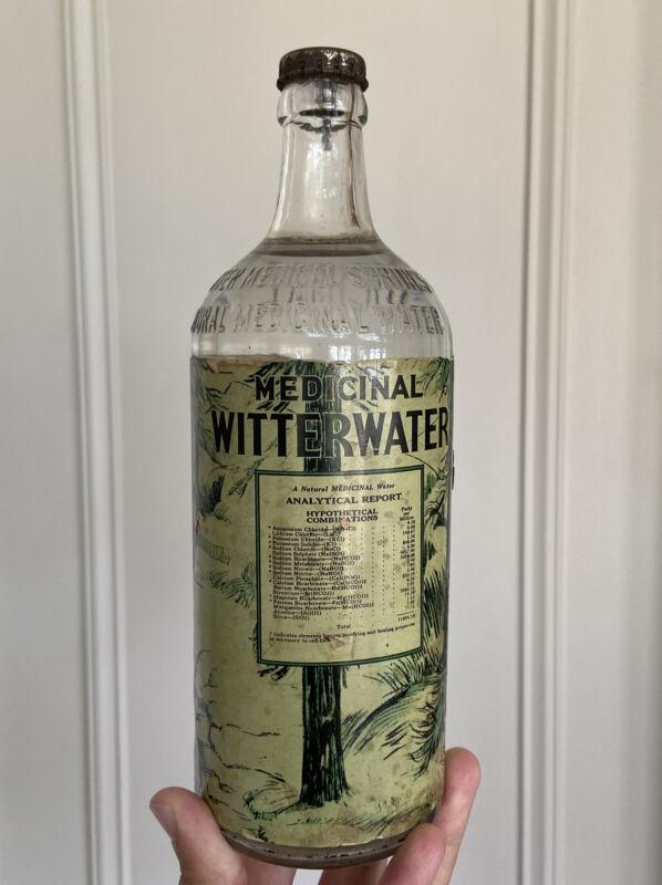 Quack Medicine, Witter Water Medicinal Full Bottle, 1930