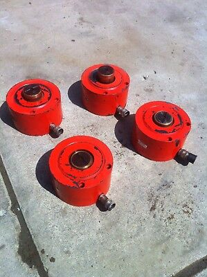 Set Of 4 Power Team 150 Ton Single Acting Hydraulic Cylinder Enerpac