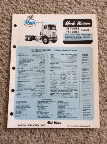 1970 Mack Western heavy-duty truck sales information