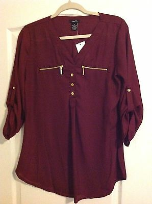 Womens Shirt Top Blouse Tunic Rue21 Polyester Maroon Red Size Medium Nwt