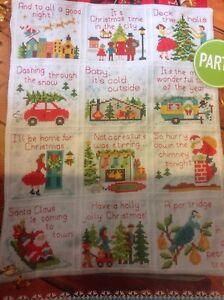 (X3) Xmas Carols Afghan Sampler (both parts) Christmas Cross Stitch Chart