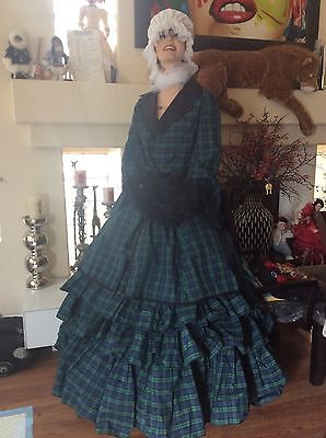 2pcJ / Seide Taftkleid Vintage Kariert Rock 1700,1800 Paris Kontur / - 1800 Kostüm Kleider