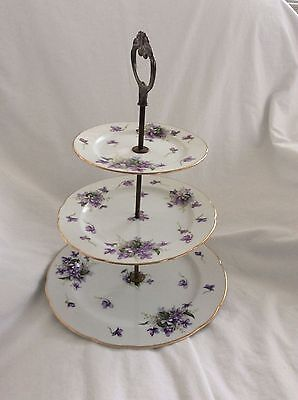 Rossetti Spring Violets Fine China 3 Tier Serving Tray Hand Painted