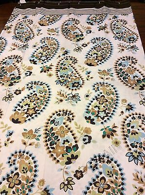 Floral Paisley Fabric Shower Curtain Flowers In Brown Blue Green On White NIP Brown Paisley Shower Curtain
