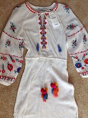 NEW ZARA Embroidered Sheer Maxi Dress Swim Beach Cover Up Tie Waist small NWT