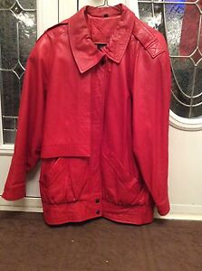 Red leather coat size med $65