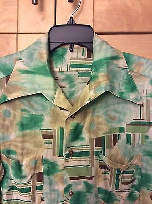 Vintage 70's Disco Men's Acetate/Nylon Green & Brown Long Sleeve Shirt L