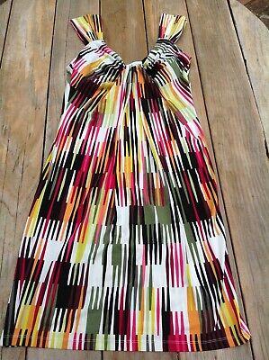 London Style Women's Sz 6 Dress Sleeveless Verticle Stripes Stretch -