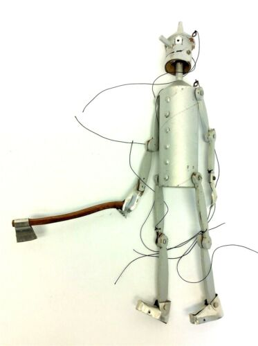 Vintage Wood Metal Handmade Silver Tin Man Hanging Articulated Puppet Marionette
