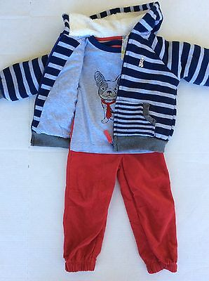 New Little Me Boy's Size 2T Outfit 3 Piece Set Pants Sweater Shirt Dog Everyday