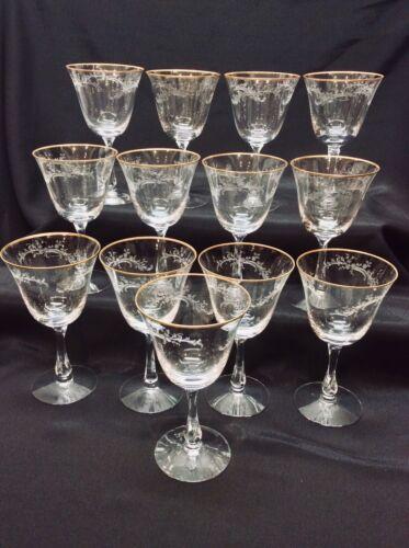 12 FOSTORIA GOLDEN LACE Crystal Water Goblets Vintage Gold Rim Wine Glasses
