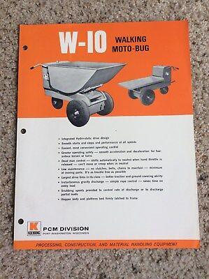 1960s Koehring Pcm Division Walking Moto-bug Construction Equipment Sales Lit