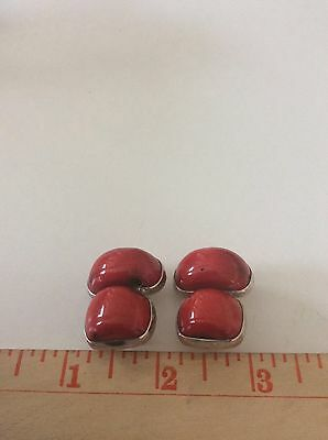 REBECCA COLLINS RED CORAL Sterling Silver SIGNED CLIP EARRINGS