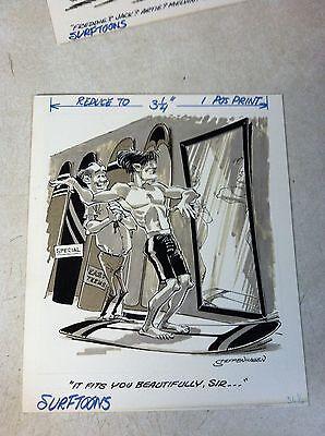 SURFTOONS magazine ORIGINAL ART 1969, PETERSEN'S -- BEACH STUD IN THE MIRROR
