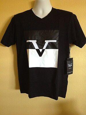 VERSACE 19V69 MEN'S V NECK LOGO T-SHIRT SHORT SLEEVE IN BLACK/GRAY/WHITE S/M/L