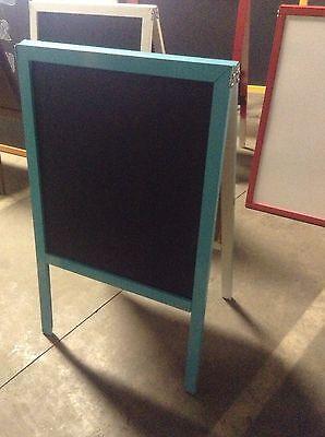 39 X 24 Aqua Blue Wood Frame Black Chalkboard Sidewalk Sign Menu