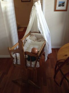 Rocking cradle. Wooden crib with canopy and bedding -ideal for dolls Carrington Newcastle Area Preview