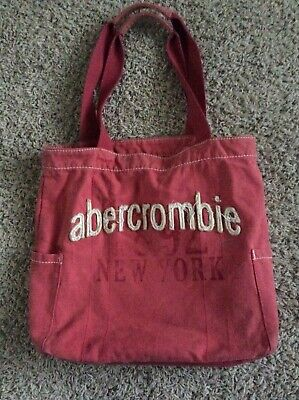 ABERCROMBIE New York Tote Bag Book Carryall Hanbag Washed-Out Red Stitched COOL d'occasion  Expédié en Belgium