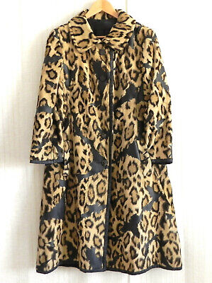 Vtg Sauvage by Treiss Coat Faux Fur/Leather Pockets Long Sleeve Size M/L