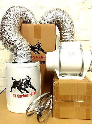 """carbon filter fan kit extractor 100mm inline 4"""" grow tent set hydroponics"""