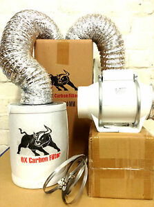 carbon filter fan kit extractor 100mm inline 4