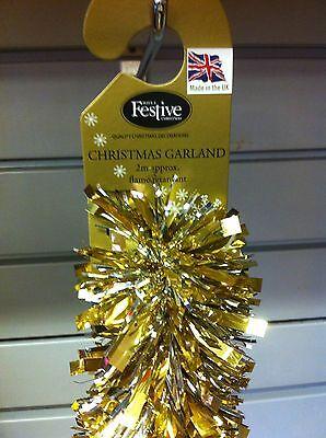 Christmas Garland Tinsel 2x2M - Gold & Silver  NEW Made in UK   - 18657 - Halloween Garlands Uk