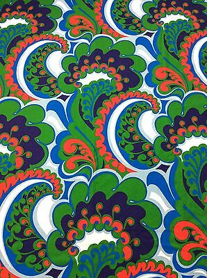 VINTAGE RETRO PSYCHEDELIC GREEN BLUE RED CURTAINS FABRIC GERMAN 60s 70s
