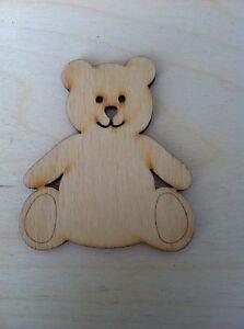 X10 Wooden Teddy Bear Shapes, Craft, Embellishment