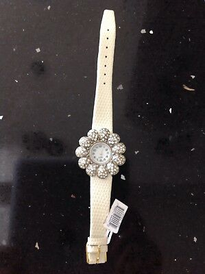 swarovski crystal Flower Watch w/pearl leather band